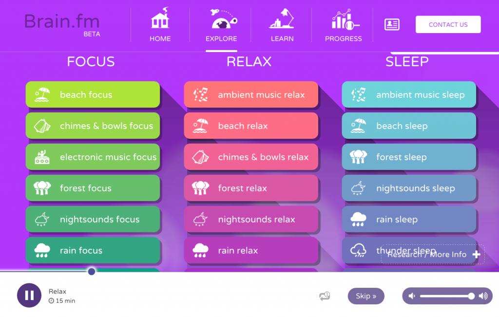 Application de musique Brain.fm pour augmenter sa concentration