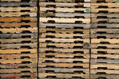 stacked recycled pallets