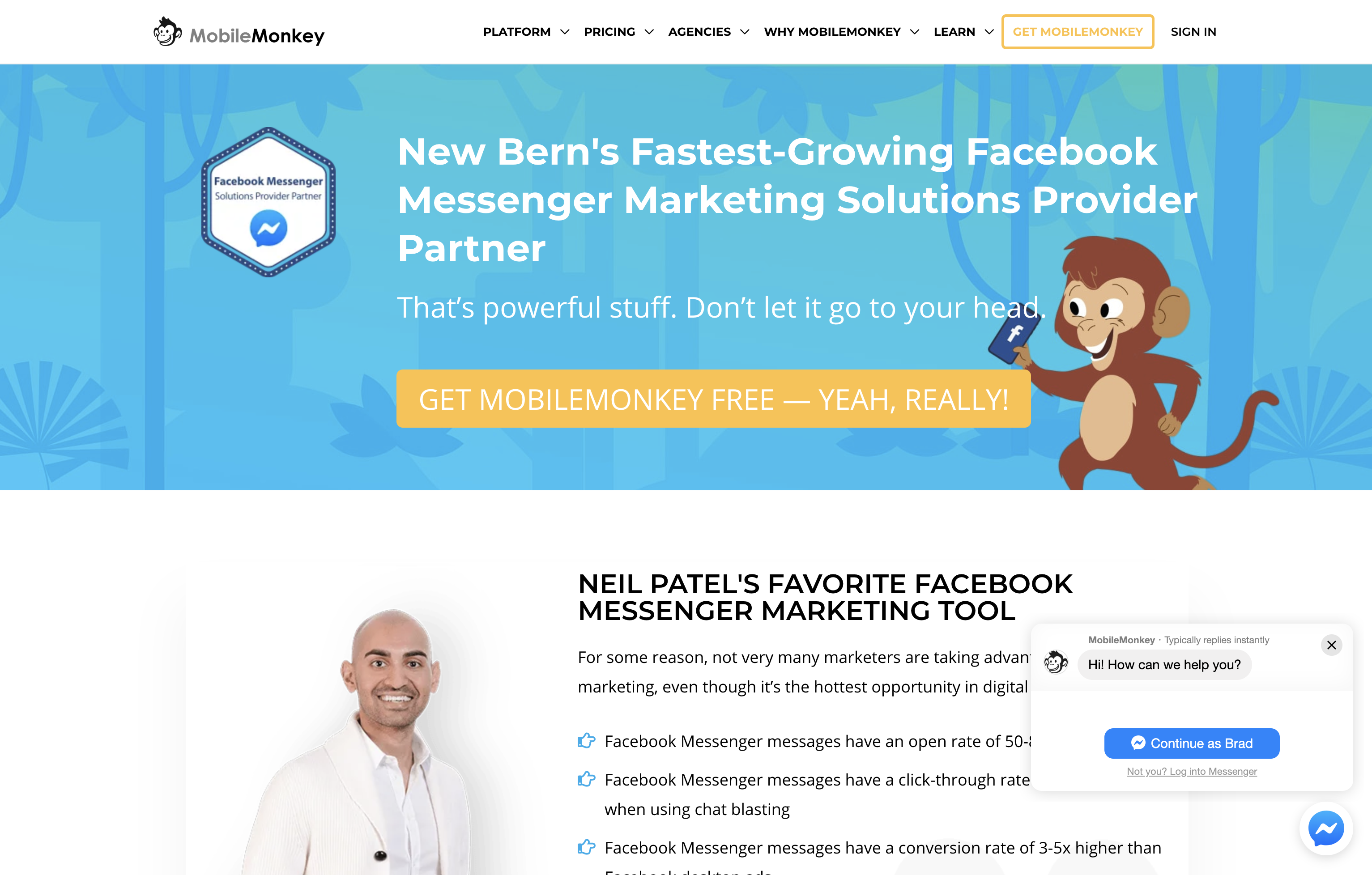 Mobile Monkey Facebook Chat Bot FREE Bear City Impact