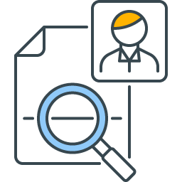 graphic icon representing quality check assistance for humans