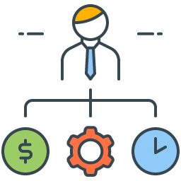 graphic icon representing an organized operation with time, resources and scope