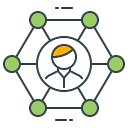 graphic icon representing a public network