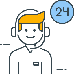 graphic icon representing 24/7 customer service
