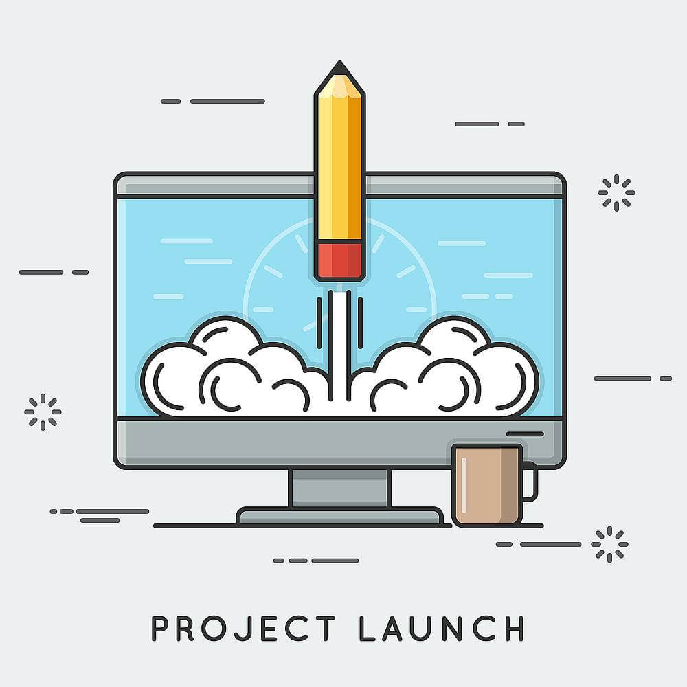 website launch depicted by rocket launch