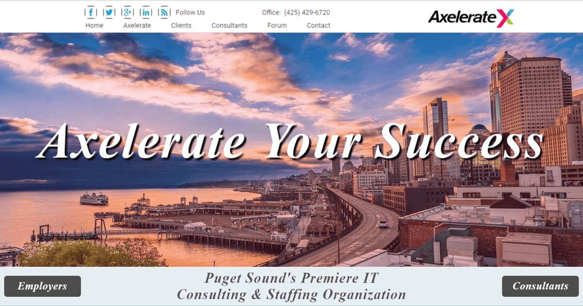 axelerate's website home page seattle skyline
