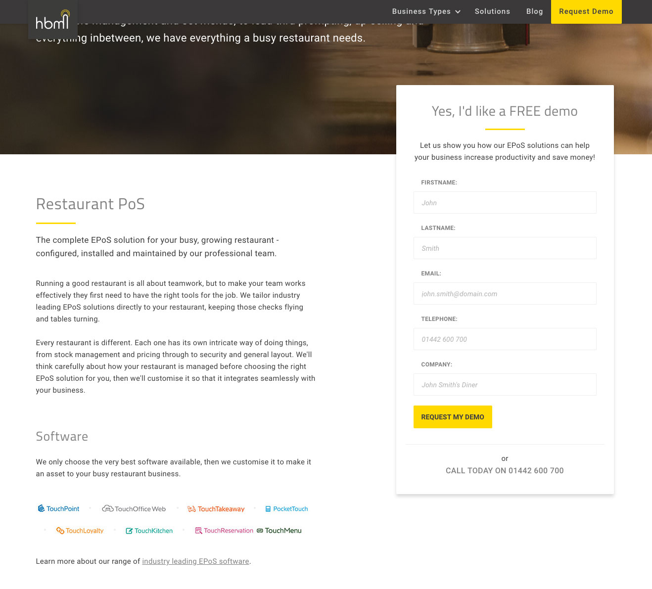 HBM restaurant landing page website screenshot
