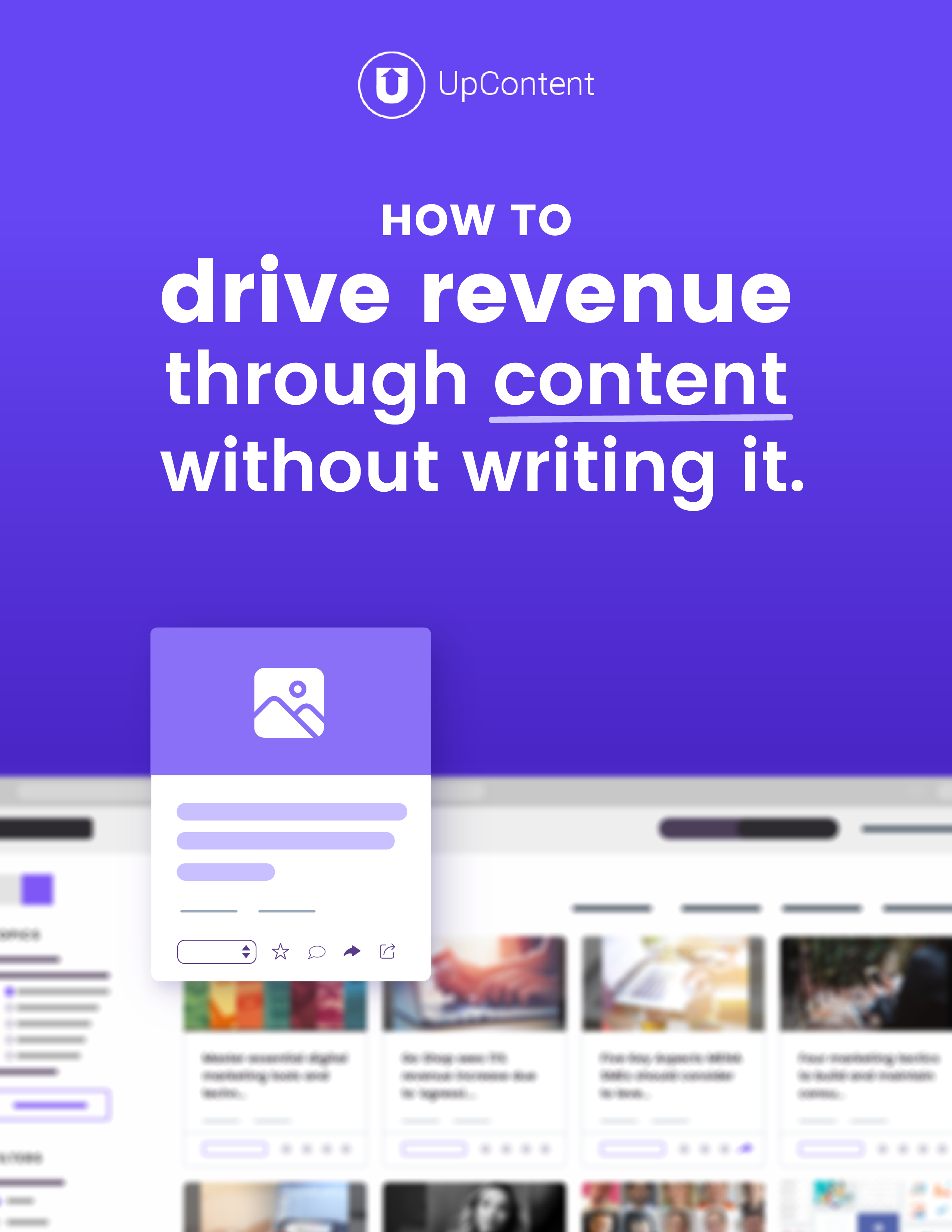 ebook on How to Drive Revenue through content without writing it