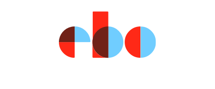 Brightly colored ebo logo made up of half circles and a rectangle.