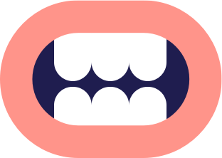 A cartoon illustration of a mouth.