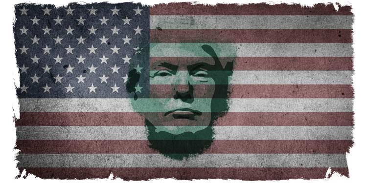 Trump cartoon Flag