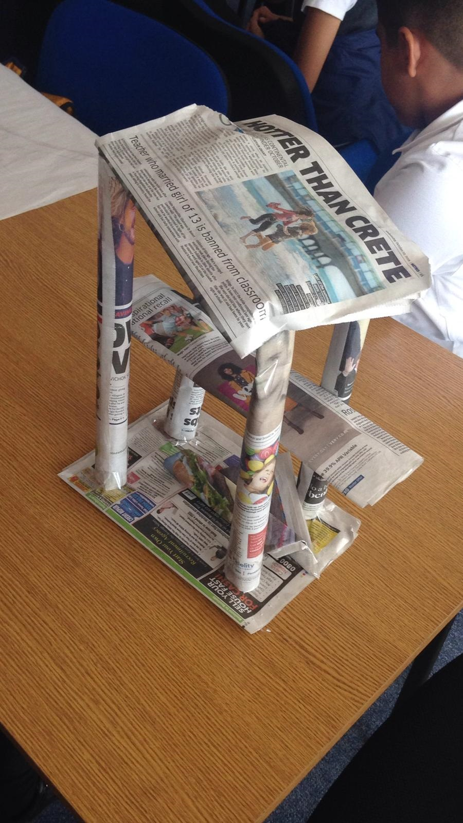 The winning bridge design! A great example of teamwork, problem solving and creativity.