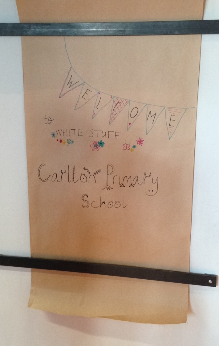 A creative welcome sign for Carlton at White Stuff