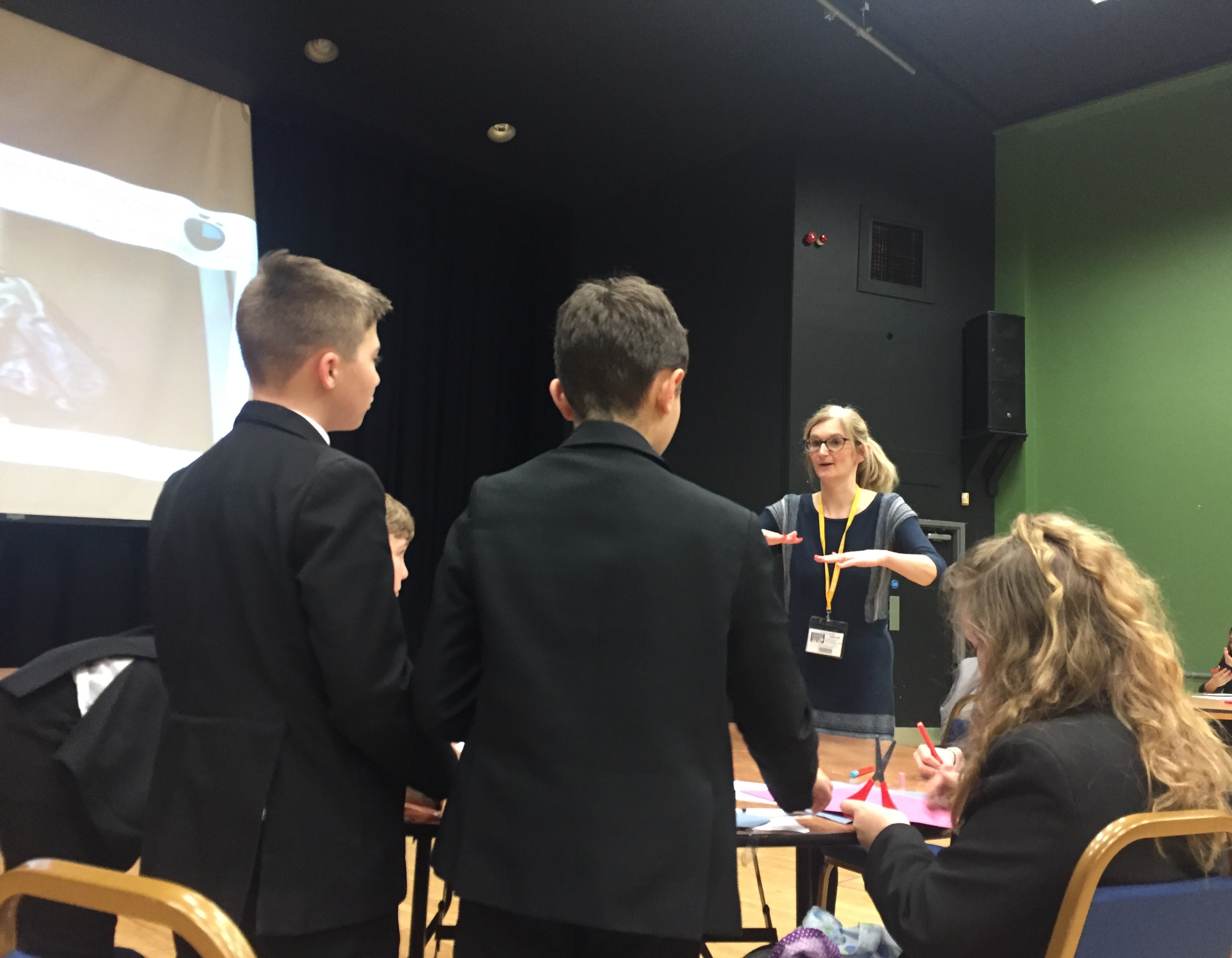 Presenting skills in action at Grimsby Institute at the Humberston students explain how they sometimes have to think outside the box to problem solve on the spot.