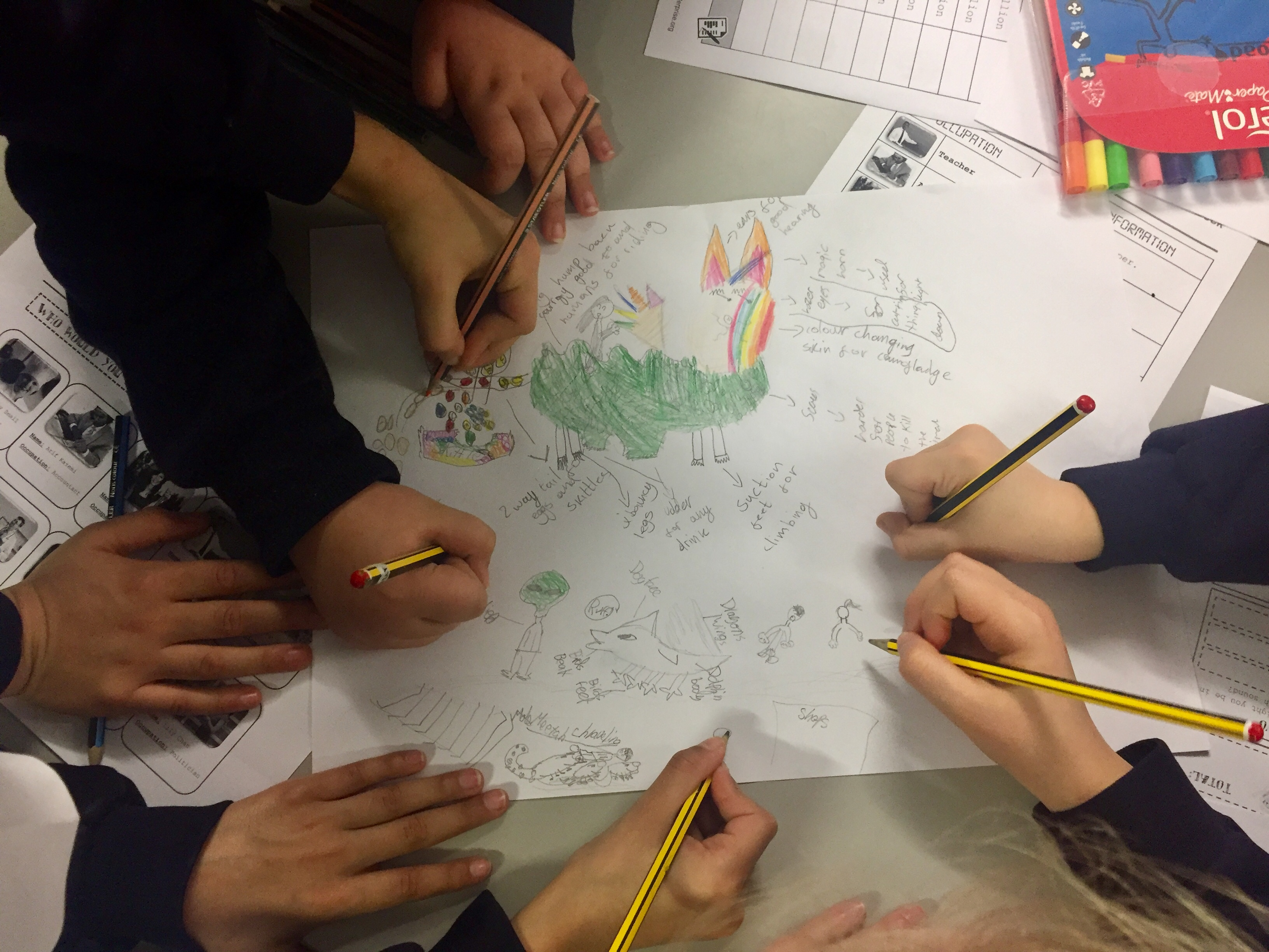 Teamwork and Creativity in action at Lea Valley Primary as teams design the most imaginative animals that could be helpful in their new societies.