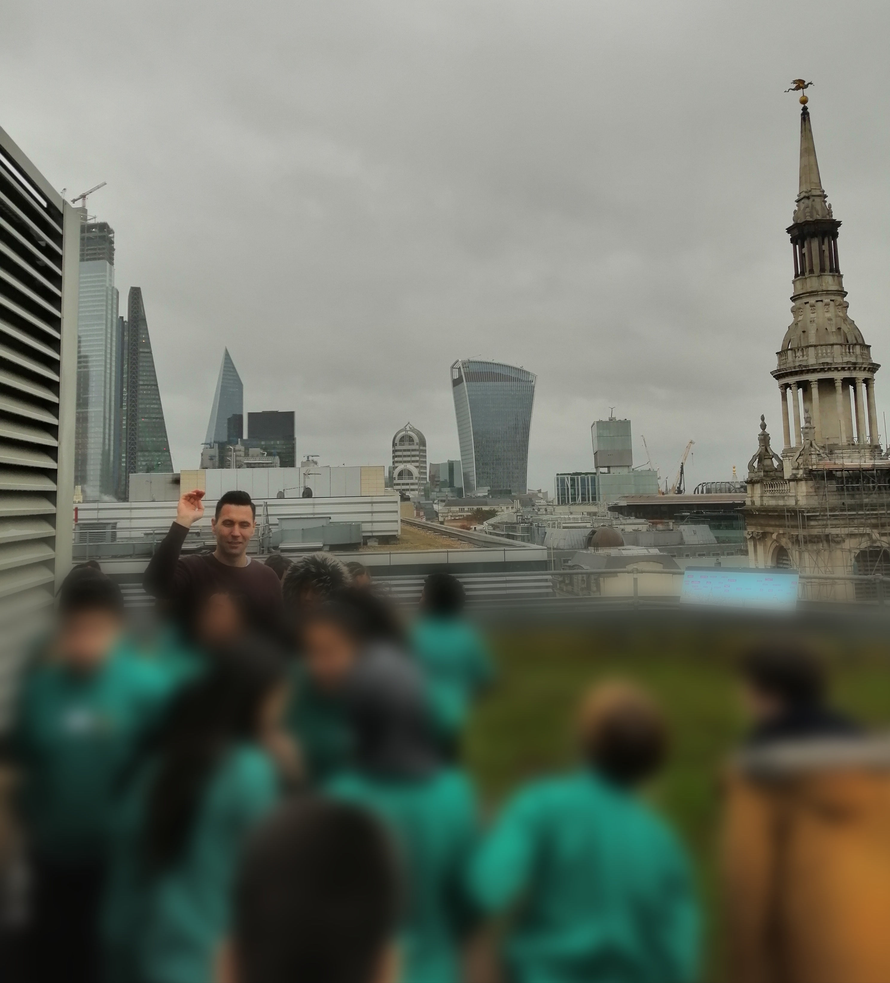 Learners enjoy the view of the city from Eversheds Sutherland's inspiring green roof terrace.