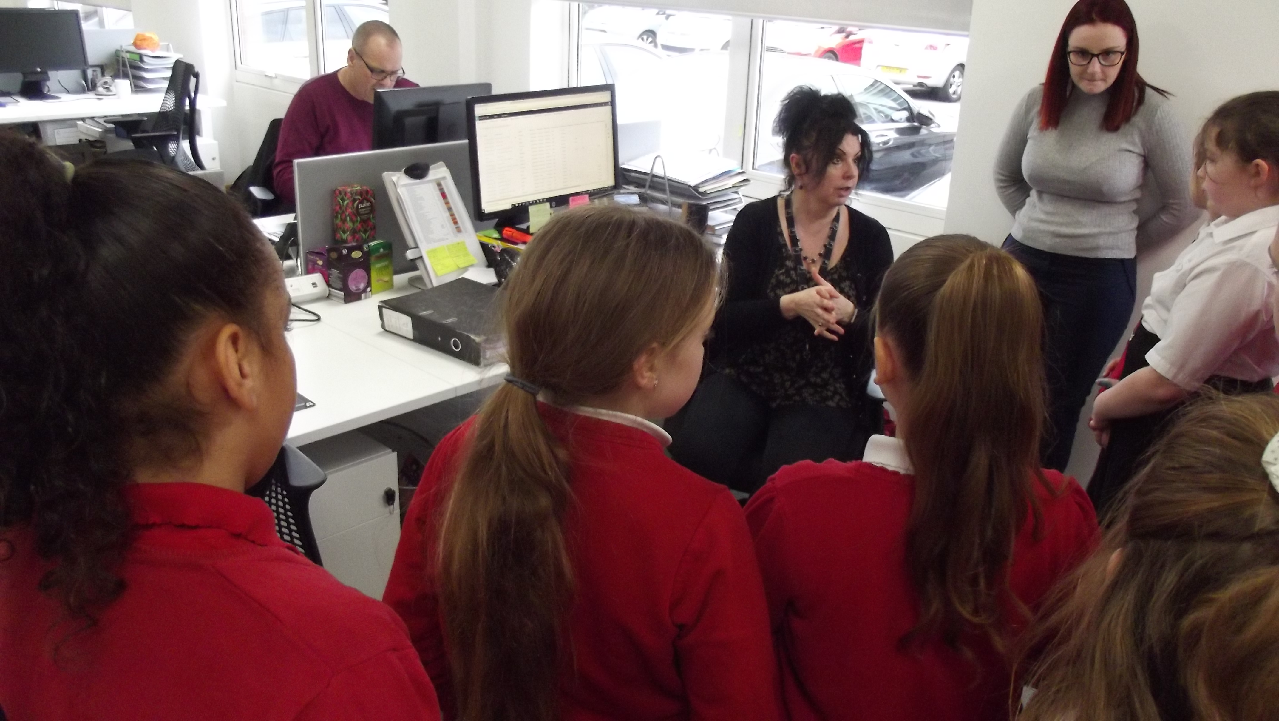 Students meeting staff at ISG