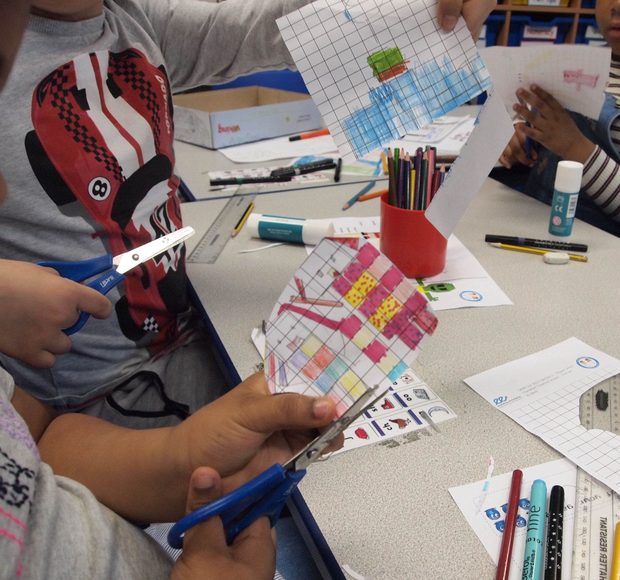 Creativity and Teamwork in action as the games designers put together their characters.