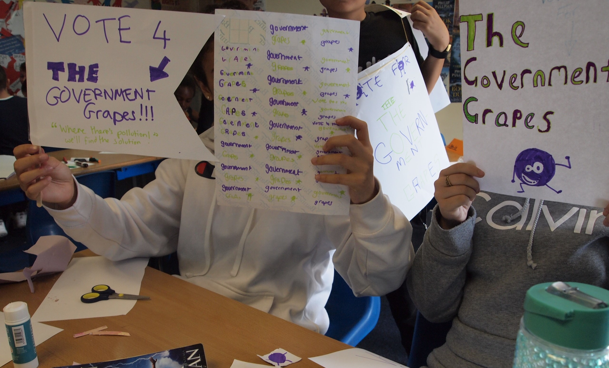 Year 6 learners apply Creativity and Teamwork to put together a colourful set of promotional materials for their political parties