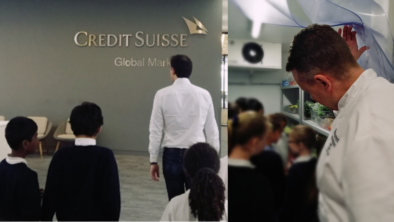 Students apply Listening as they visit the trading floor and the chilly inside of the fridge at Credit Suisse's new kitchen!