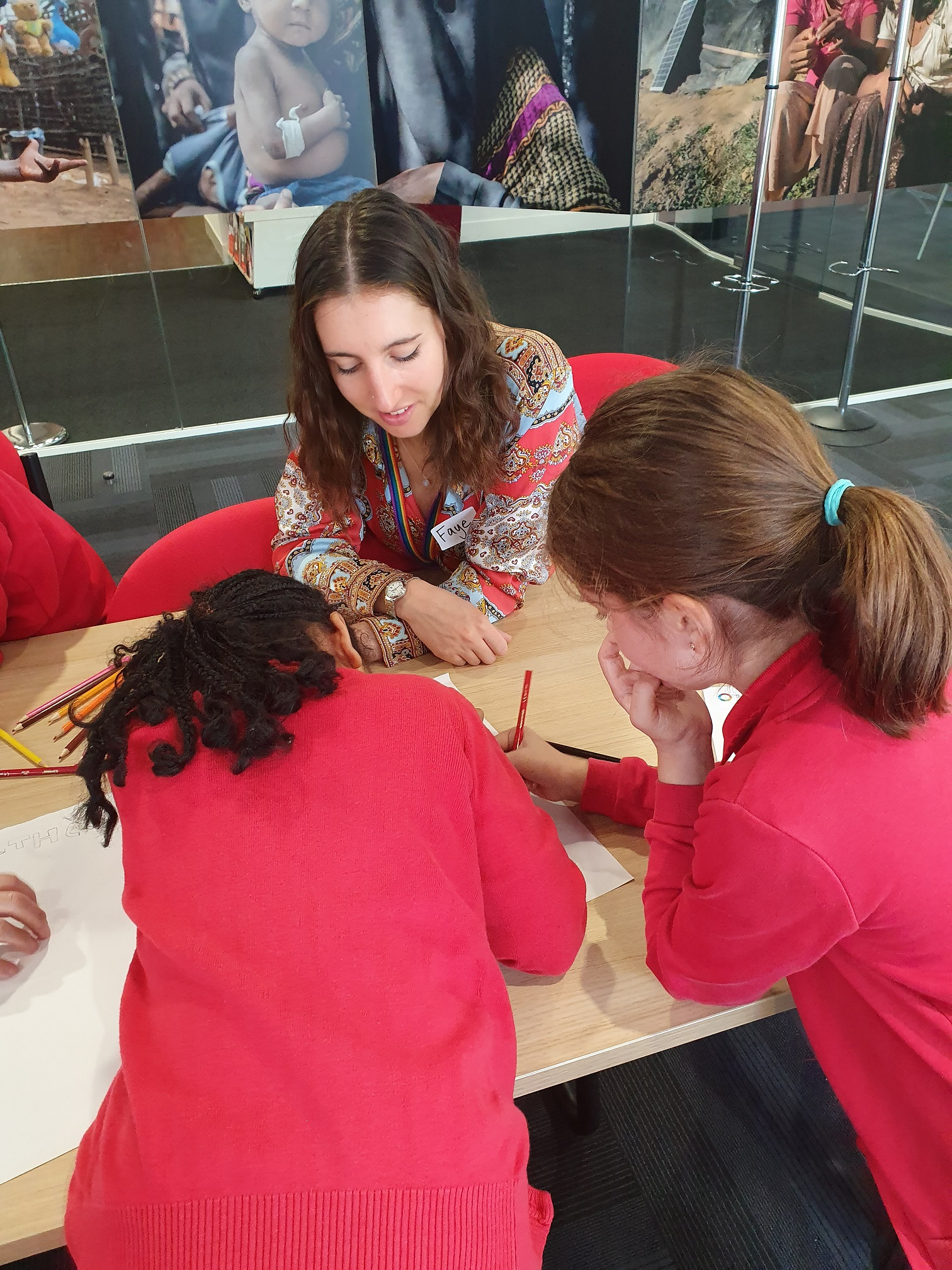 Holly Park students working on the Save the Children UK branding