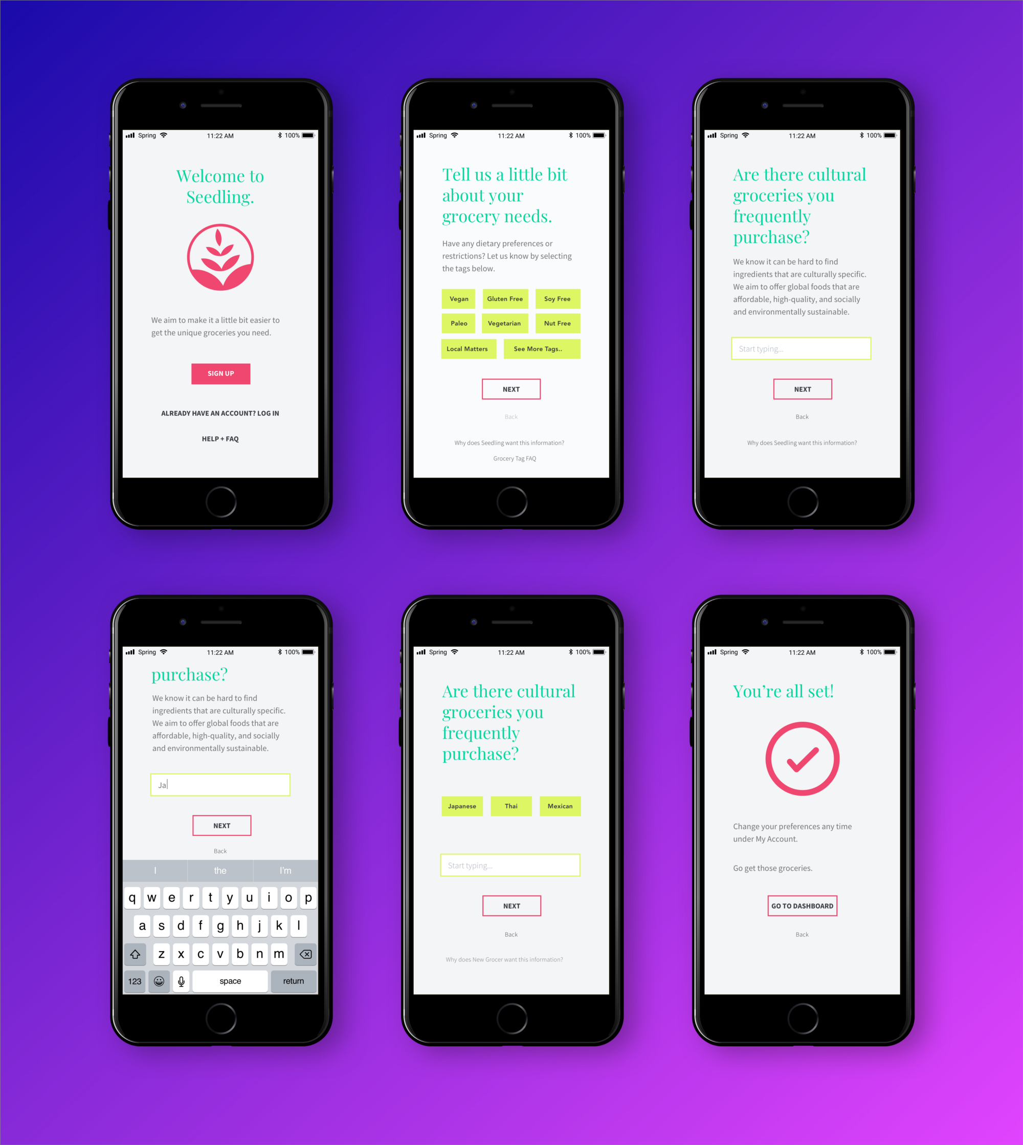 Set of six high-fidelity mockups showing key onboarding screens, where people state dietary needs and preferences.