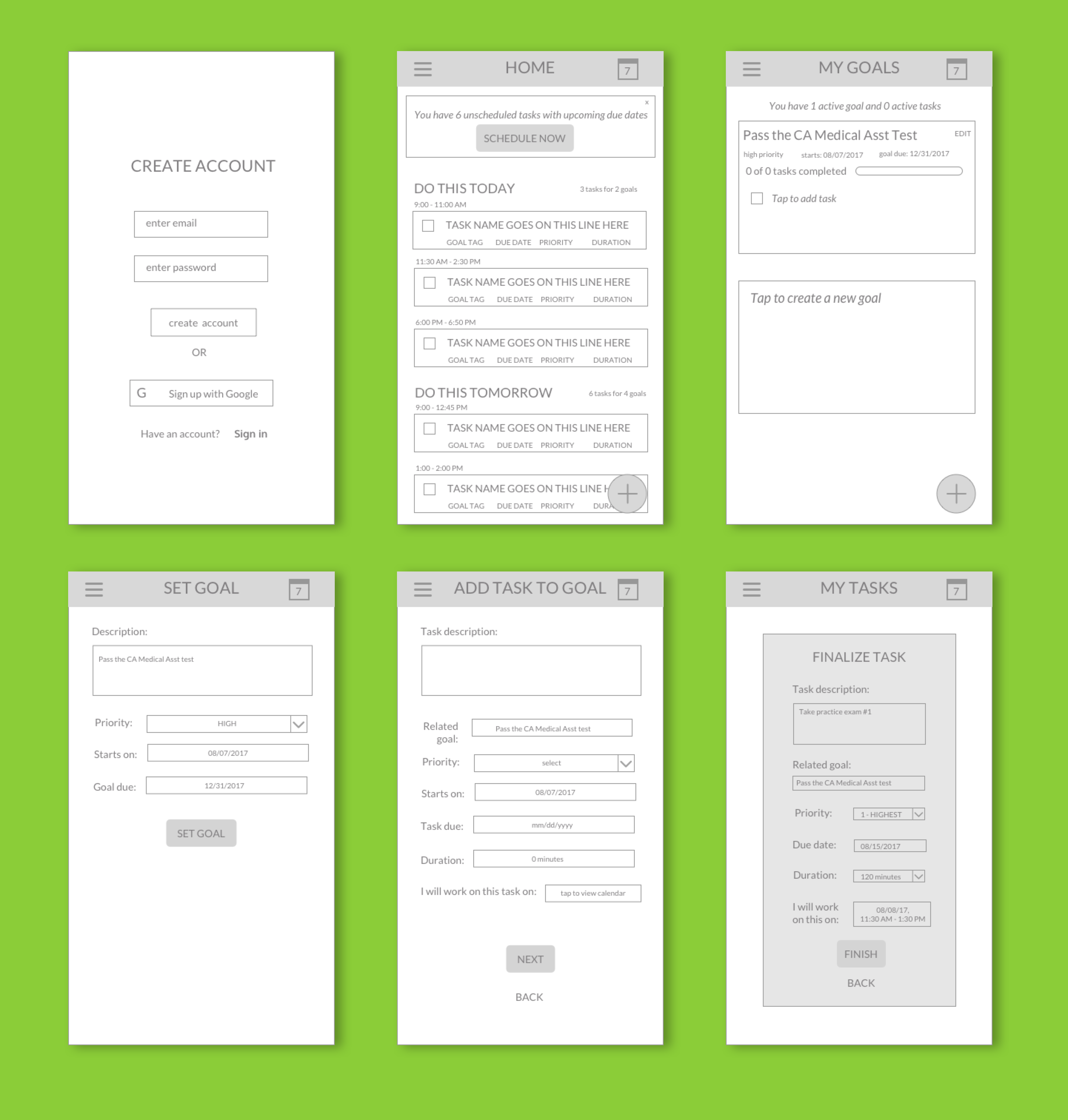 Six mid-fidelity, greyscale wireframes of key app screens, including a Sign Up screen, Dashboard, and screens for adding goals and tasks.