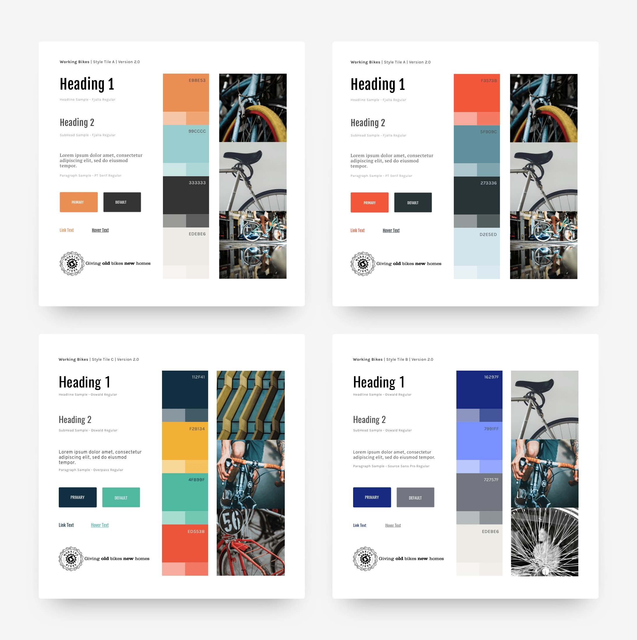 A set of four tiles with proposed visual design, including typography and color palette options.