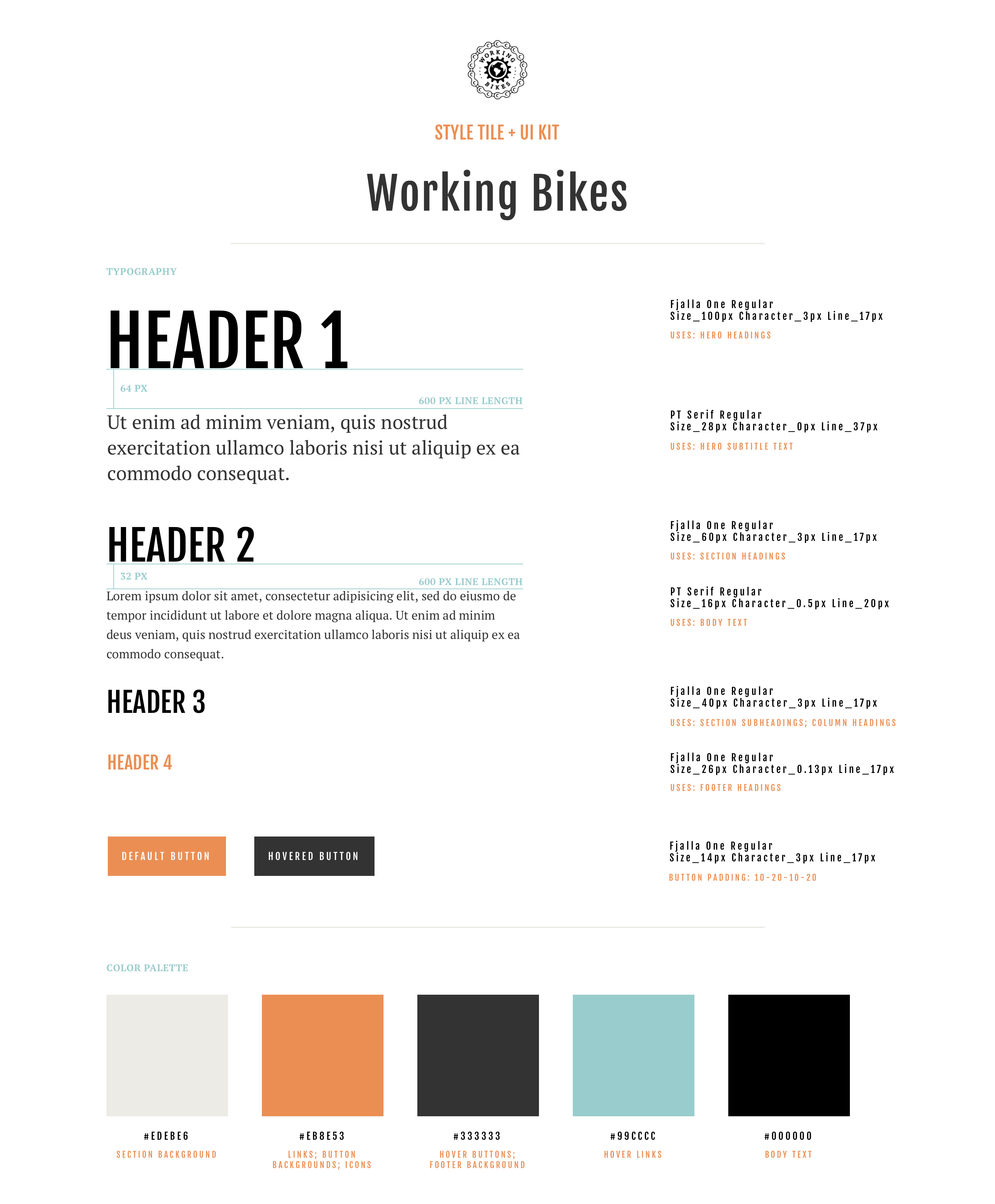 A design document showing the final branding and visual design elements, including typography, color palette, sizing guidelines,  and sample buttons.