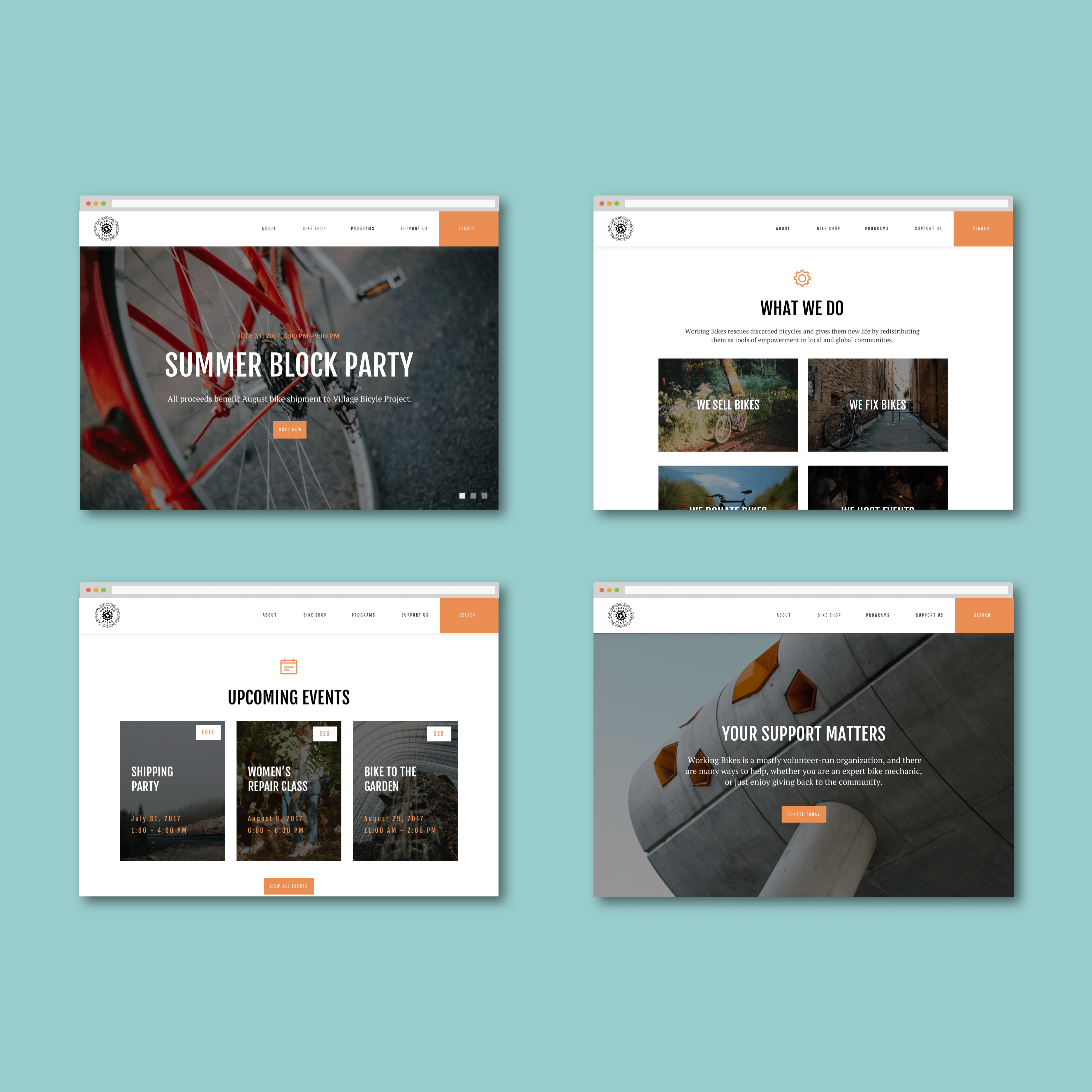 A set of four high-fidelity, full color, desktop wireframes representing key pages of the website.