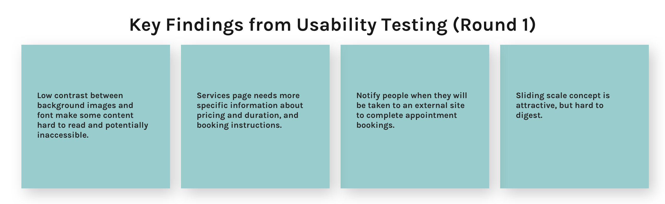 A set of four blue boxes containing quotes from usability testing participants.
