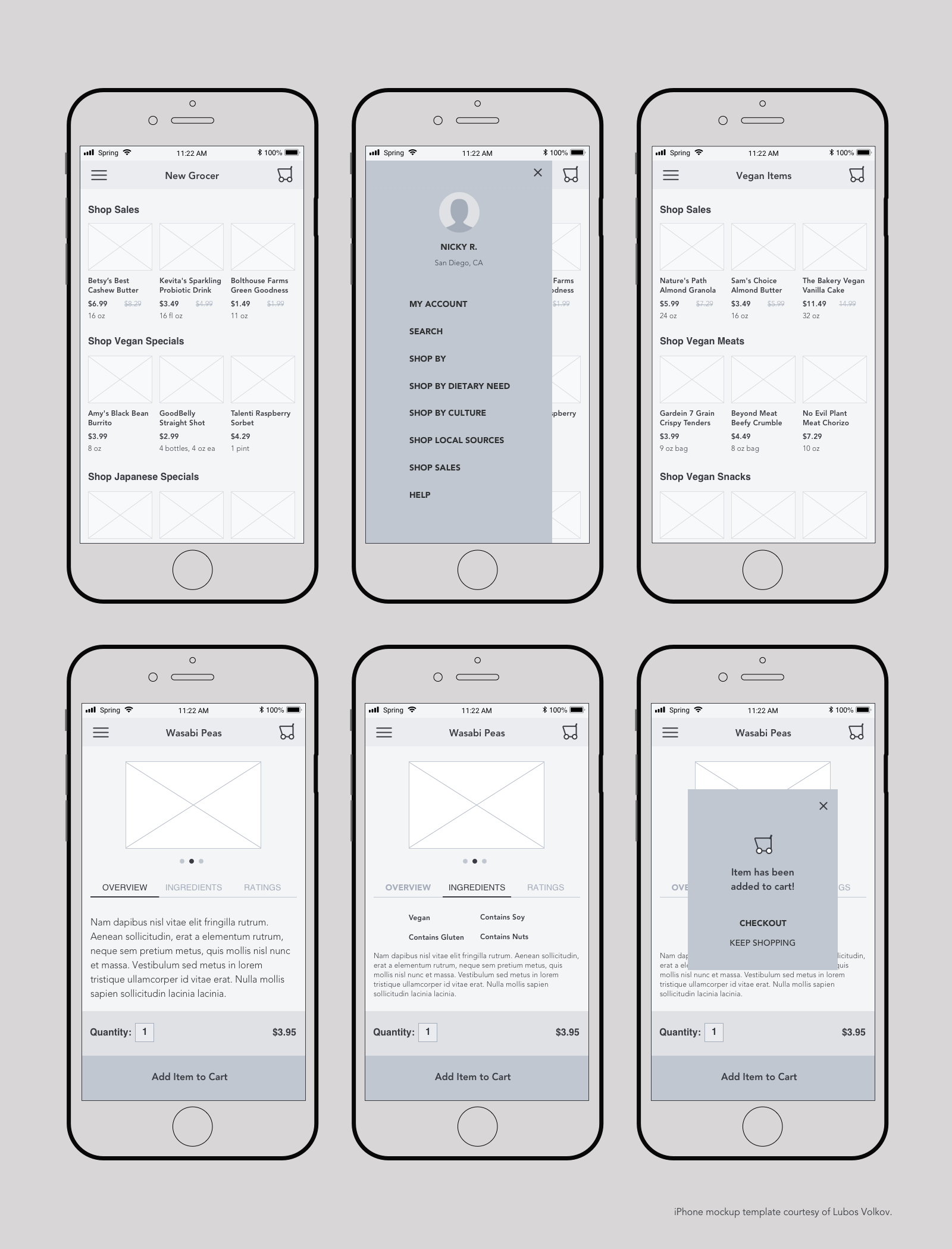Set of six mid-fidelity mobile wireframes depicting home screen, product category screen, and product detail screens.