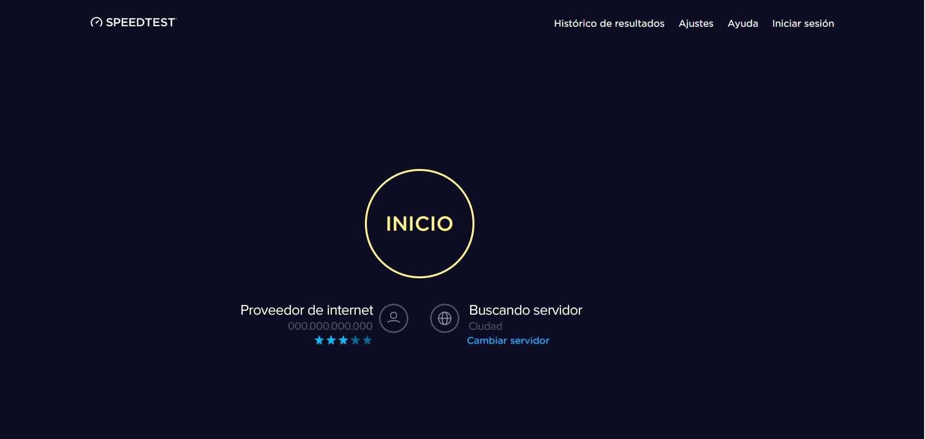 imagen speed test Ookla. Esta herramienta detecta el proveedor de internet, la dirección ip del usuario y el servidor desde el que recibe la señal de internet