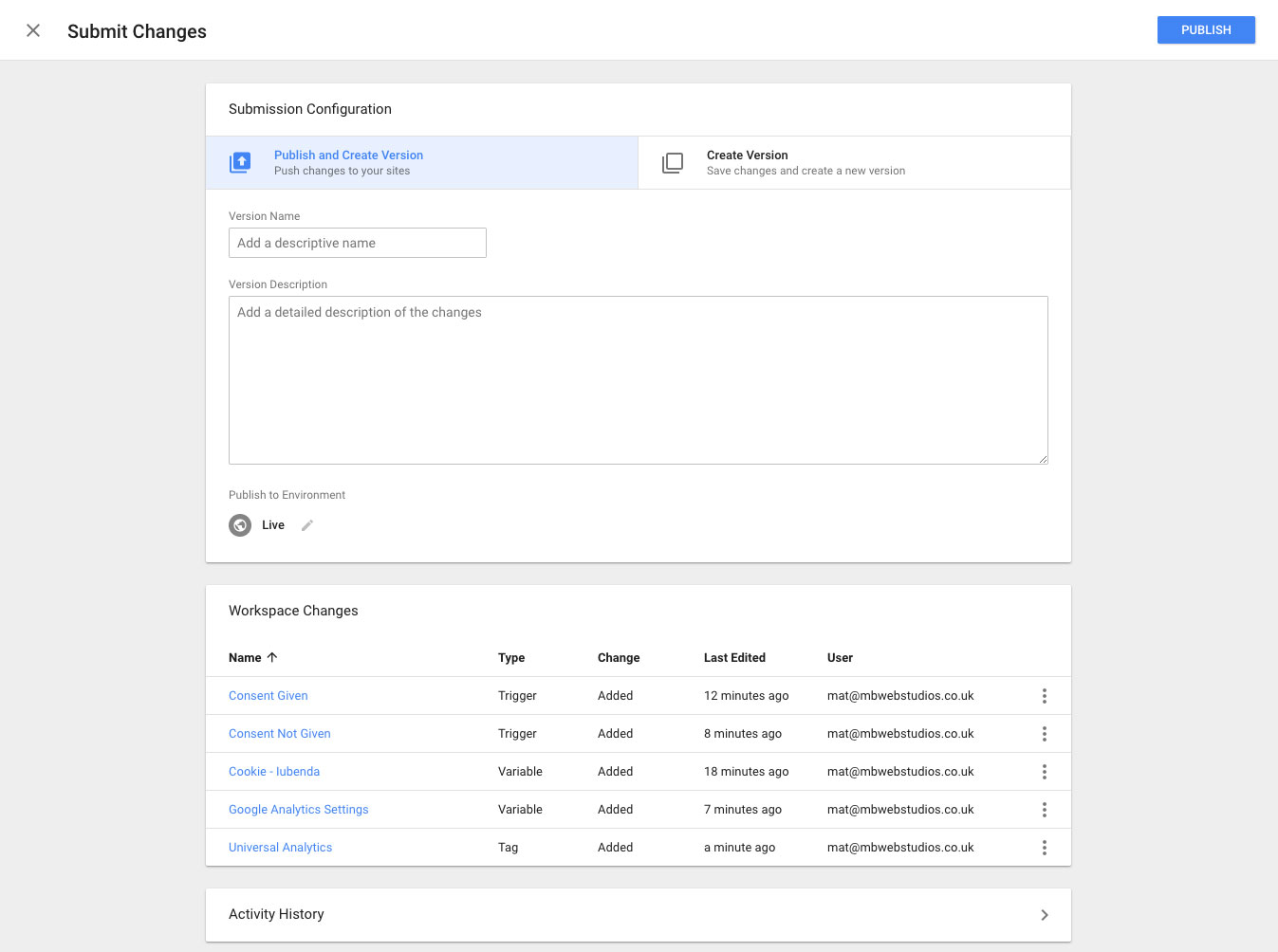 Publish changes in Google Tag Manager