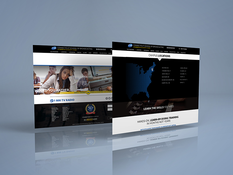 Portfolio Image Connecticut School of Broadcasting Website Web Page  Design by First Impressions Creative Services