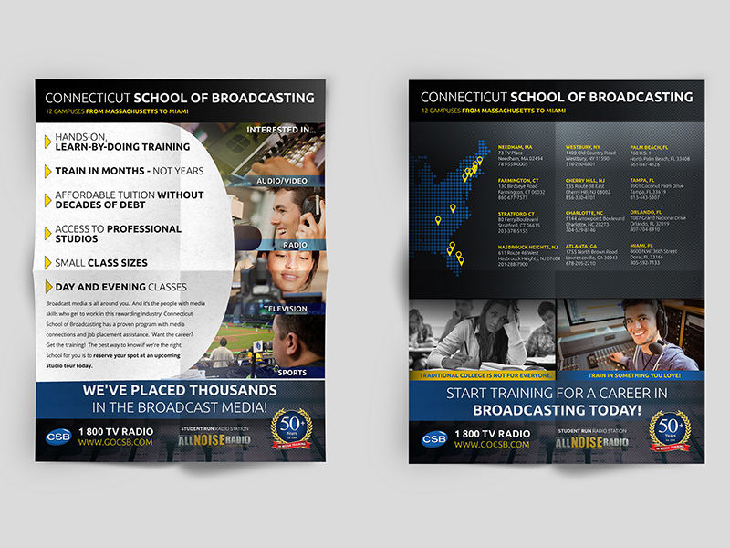 Portfolio Image Connecticut School of Broadcasting Flyer  Design by First Impressions Creative Services