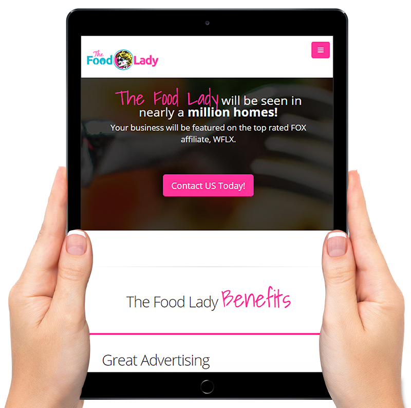 Picture of The Food Lady Website  iPad Marketing Image