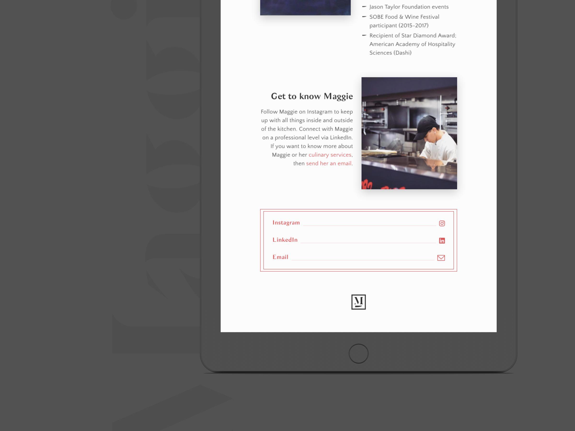 Maggie Hyams website tablet view