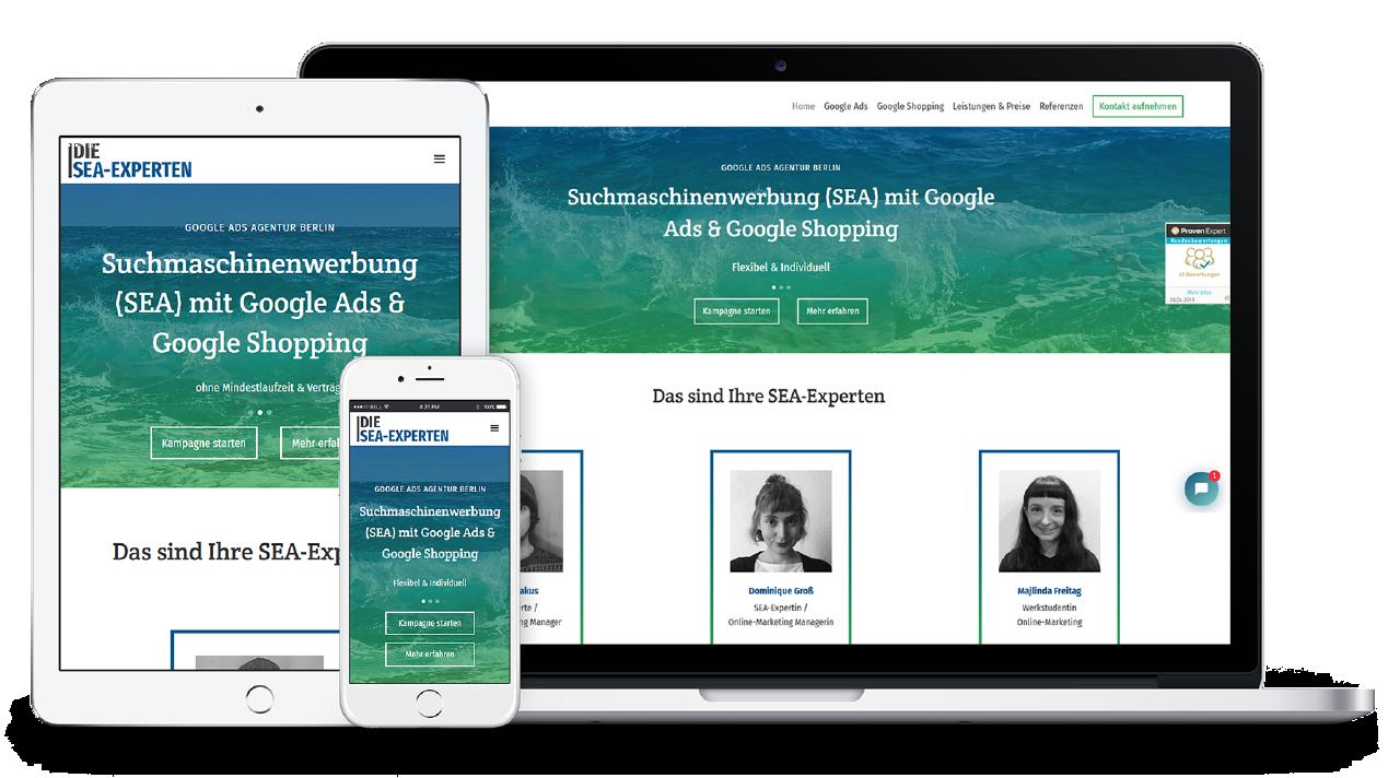 Responsive Webdesign der SEA-Experten Website