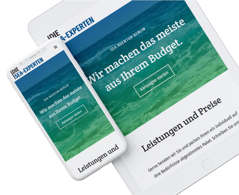 Die SEA-Experten Website flexibel auf Smartphone und Tablet - Responsive Webdesign