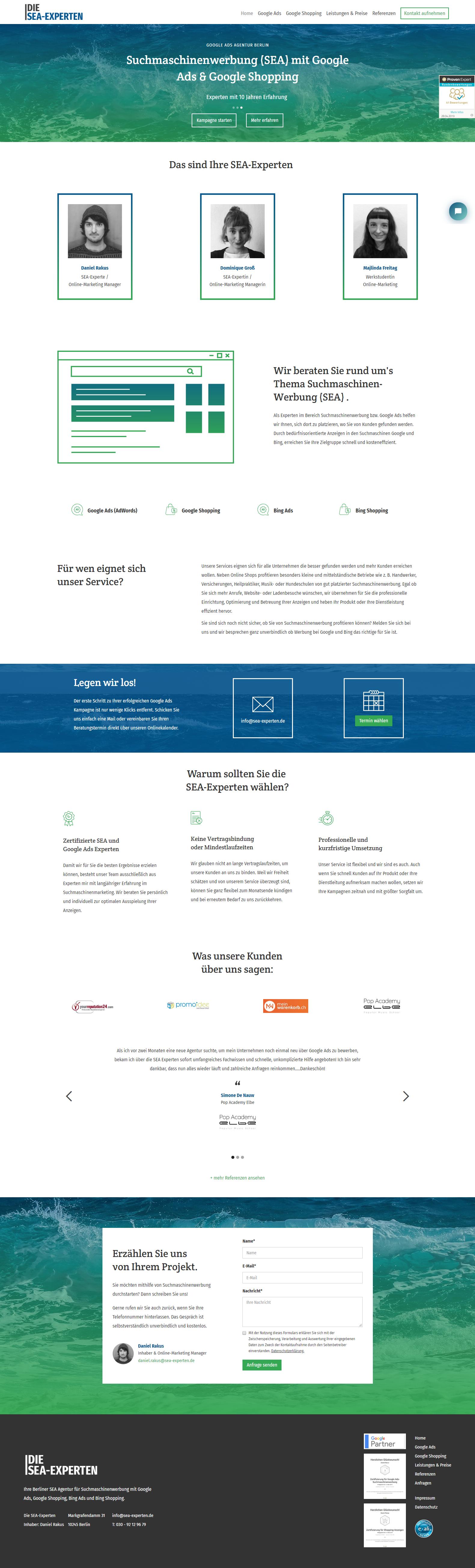 Startseite der Die SEA-Experten Website - Responsive Webdesign
