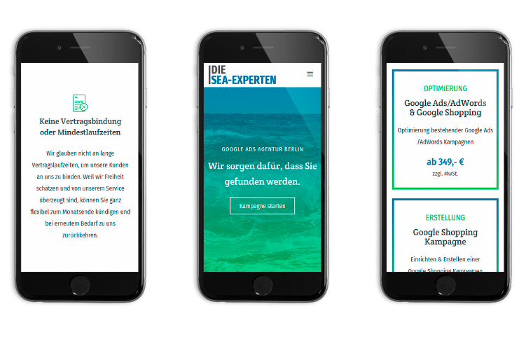 Mobile Screens der Pillhuhn Seite - Responsive Webdesign