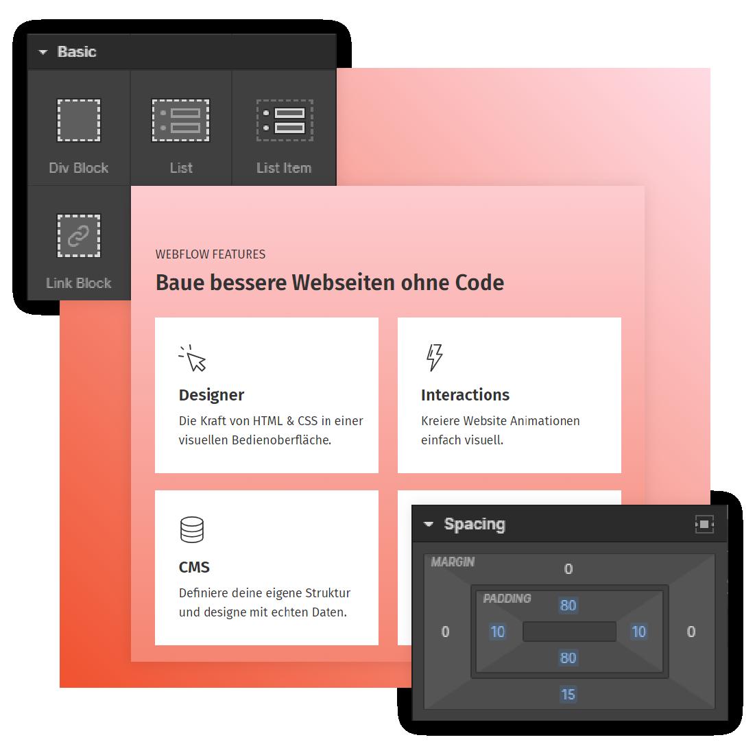Visuelles Webdesign Tool Webflow