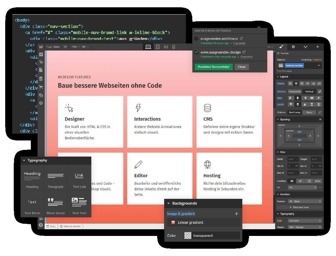 Webflow Designer Benutzeroberfläche