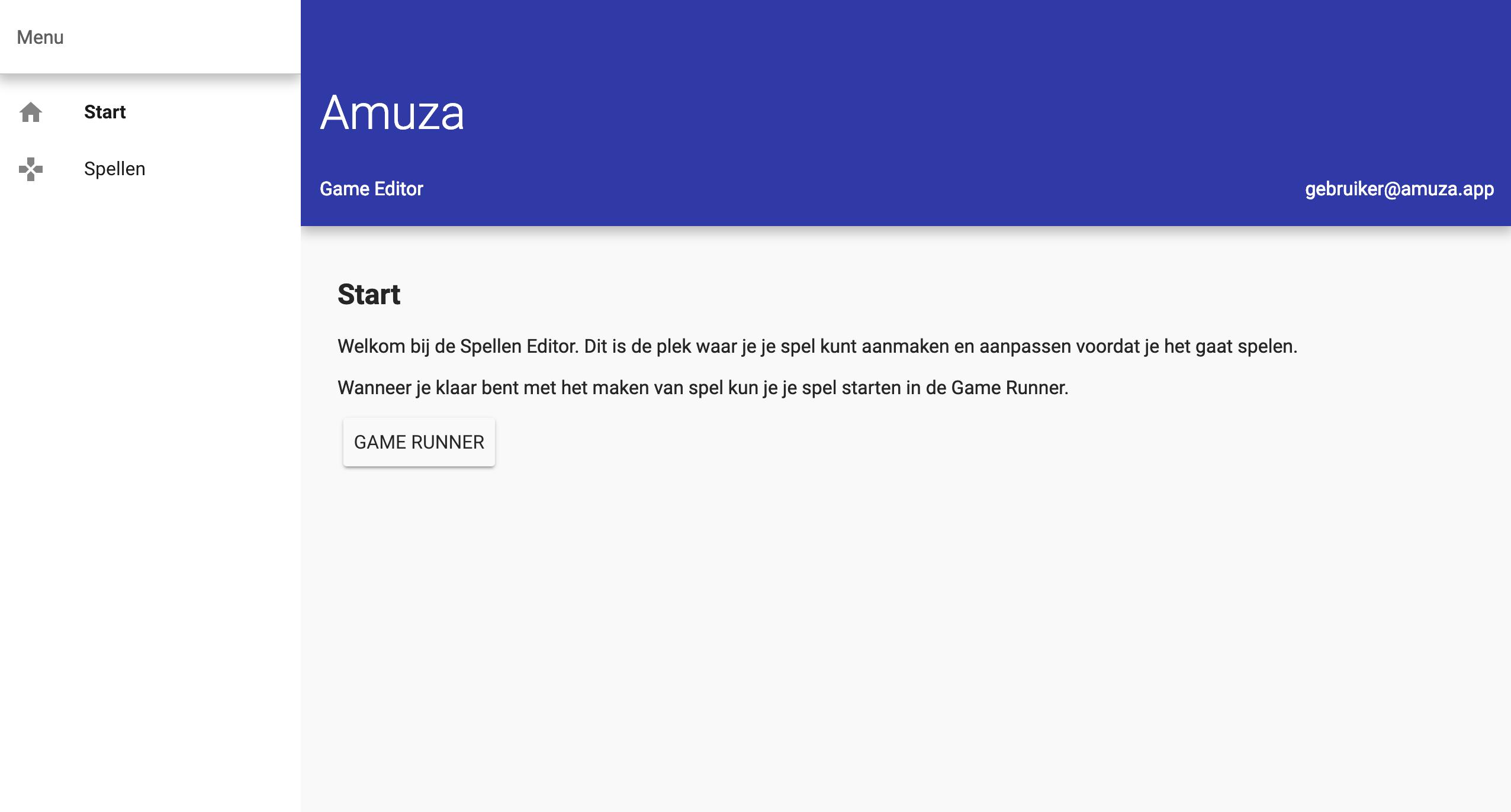 Eerste scherm van de game editor