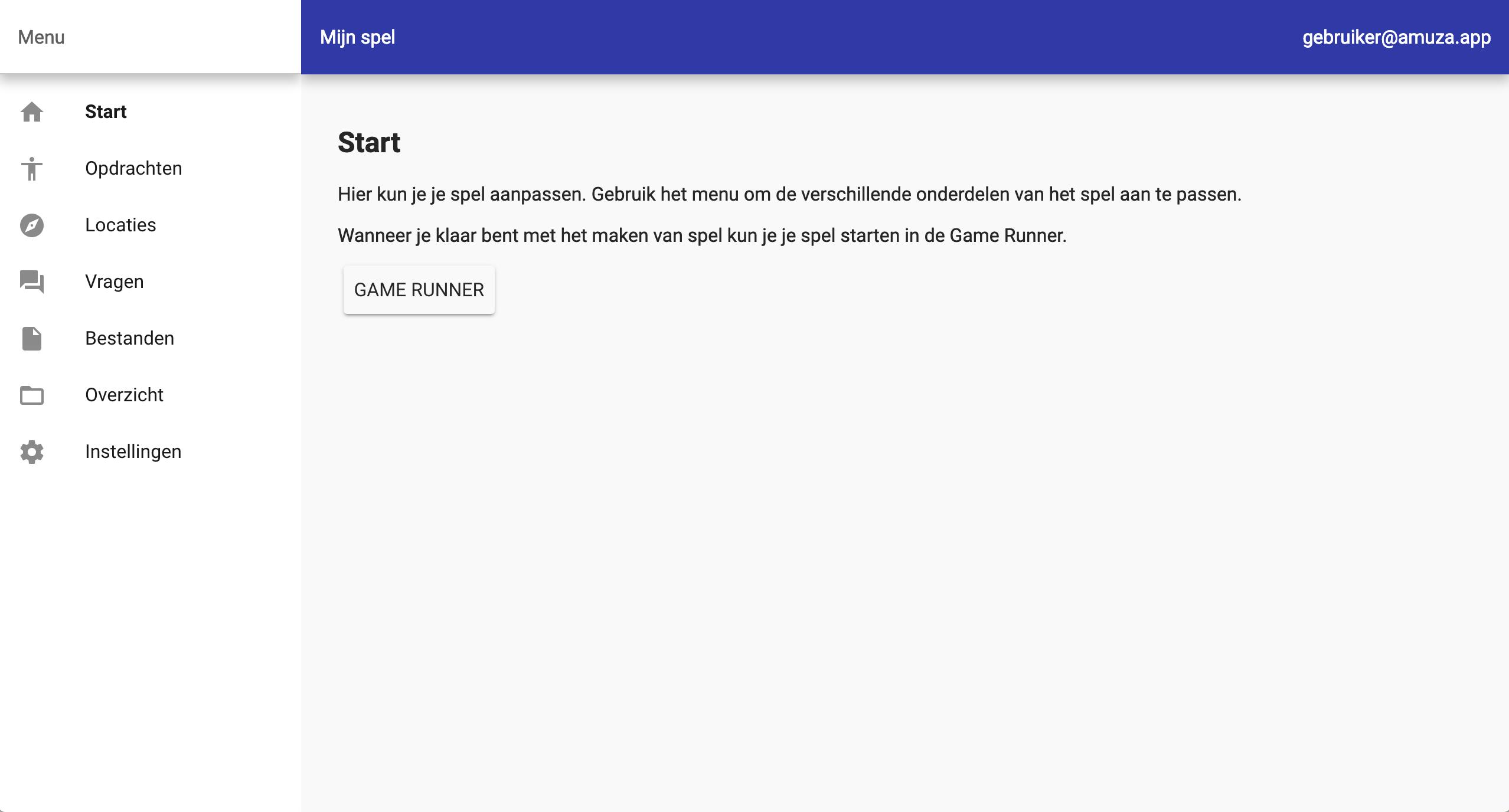 Scherm waarin je je spel kunt instellen.