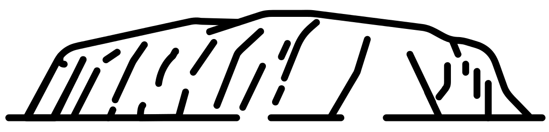 Uluru - black and white line drawing