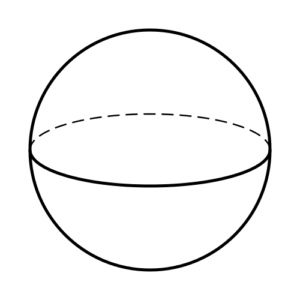 Spherical black and white diagram of Earth