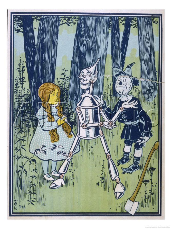 Dorothy and the Scarecrow meet the Tin Man.