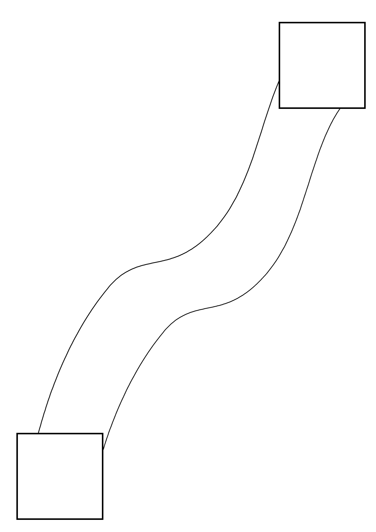 Line drawing, a sqaure box in the bottom left and top right corners, joined by a path meant to represent the yellow brick road.