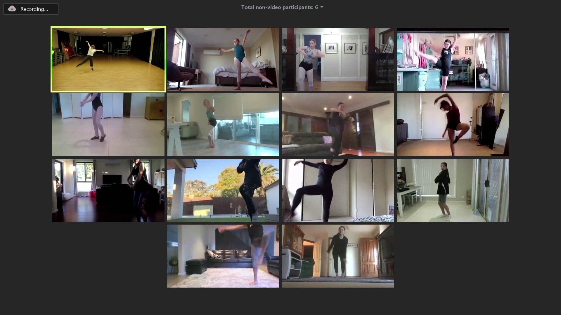 Screenshot of the virtual class, where 13 students are performing a dance with the choreographer.